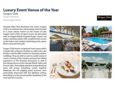 Hotel Snagov Club, premiat internațional pentru cea mai bună locație de evenimente din regiune