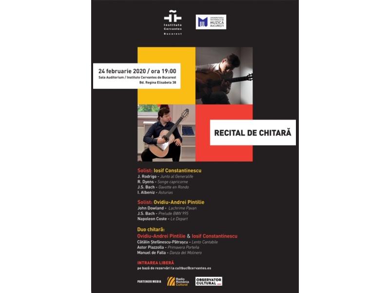 Februarie dă tonul recitalurilor de chitară lunare de la Institutul Cervantes din București