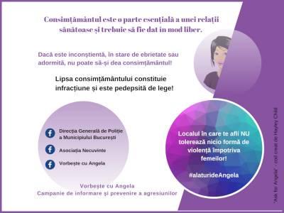 """Violența împotriva femeilor și agresiunile sexuale - Campania """"Vorbește cu Angela"""""""