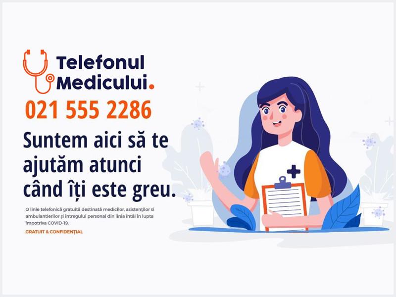 Telefonul Medicului - un ajutor destinat întregului personal din linia întâi în lupta împotriva COVID-19