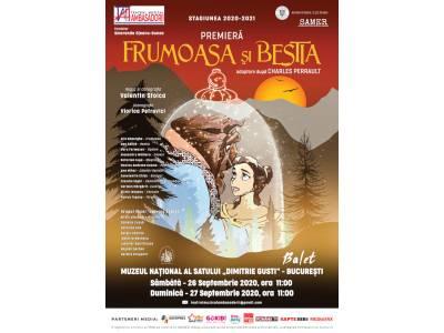"""Teatrul Muzical Ambasadorii deschide stagiunea 2020-2021 cu premiera baletului """"Frumoasa și Bestia"""", în cadrul SAMER 2020, proiect inițiat de Ministerul Culturii"""